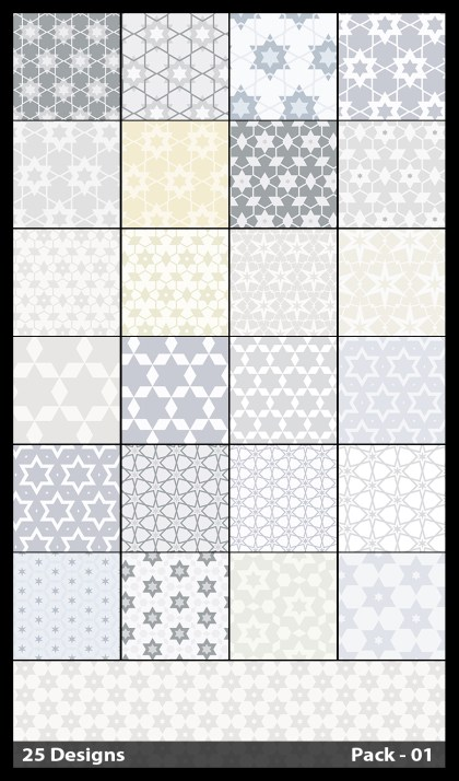 25 White Seamless Star Pattern Vector Pack 01