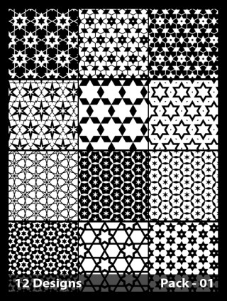 12 Black and White Seamless Star Pattern Vector Pack 01