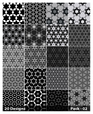 20 Black Star Pattern Vector Pack 02