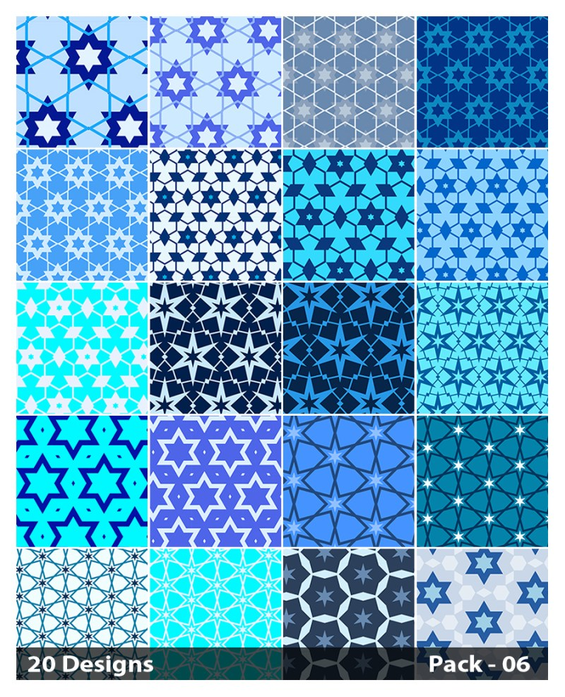 20 Blue Seamless Star Background Pattern Vector Pack 06