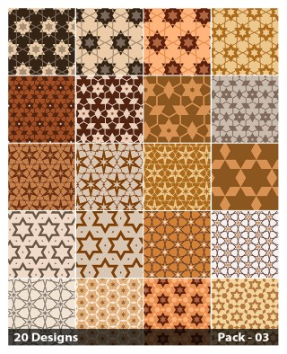 20 Brown Star Pattern Background Vector Pack 03