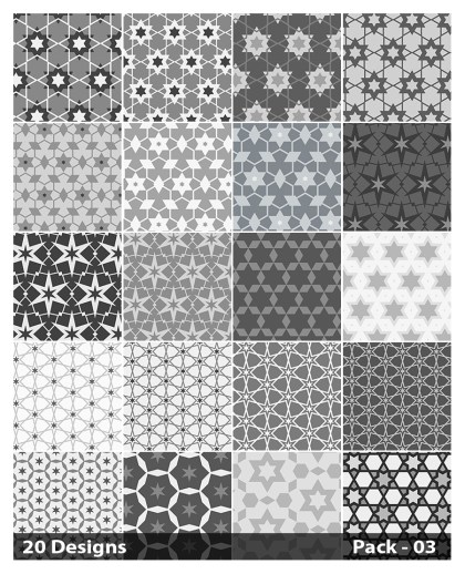 20 Grey Star Pattern Background Vector Pack 03