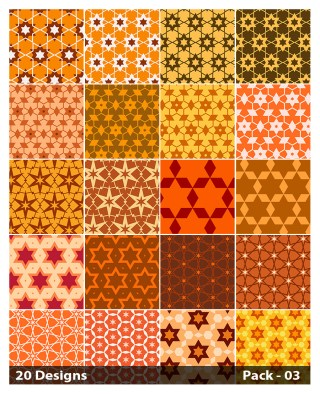20 Orange Star Pattern Background Vector Pack 03