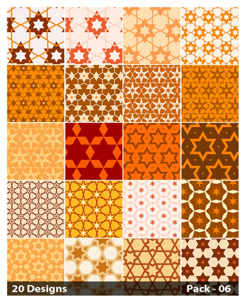 20 Orange Seamless Star Background Pattern Vector Pack 06