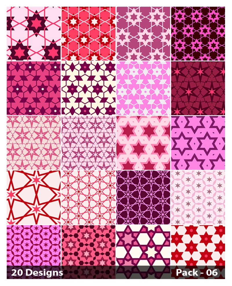 20 Pink Seamless Star Background Pattern Vector Pack 06