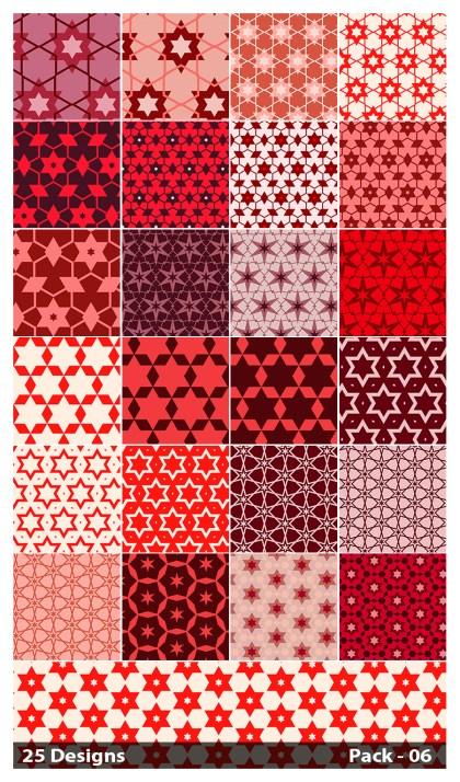 25 Red Seamless Star Background Pattern Vector Pack 06