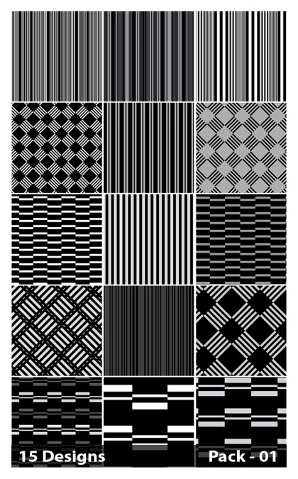 15 Black Seamless Stripes Pattern Vector Pack 01