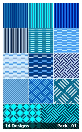 14 Blue Seamless Stripes Pattern Vector Pack 01