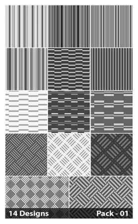 14 Grey Seamless Stripes Pattern Vector Pack 01