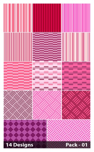 14 Pink Seamless Stripes Pattern Vector Pack 01