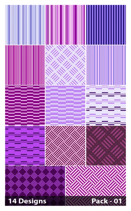 14 Purple Seamless Stripes Pattern Vector Pack 01