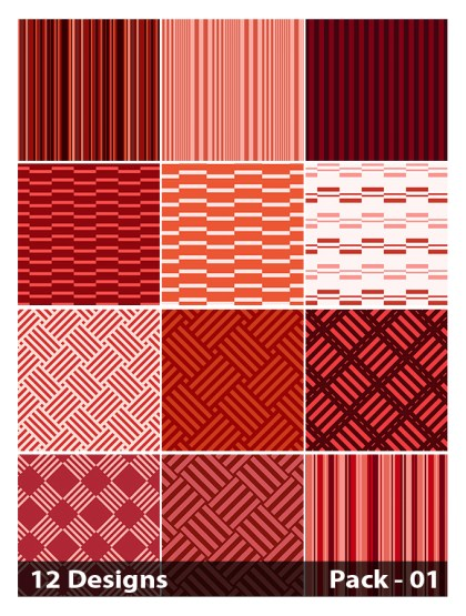 12 Red Seamless Stripes Pattern Vector Pack 01