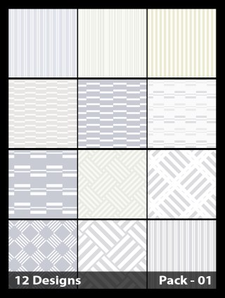 12 White Seamless Stripes Pattern Vector Pack 01