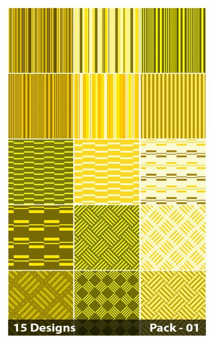 15 Yellow Seamless Stripes Pattern Vector Pack 01