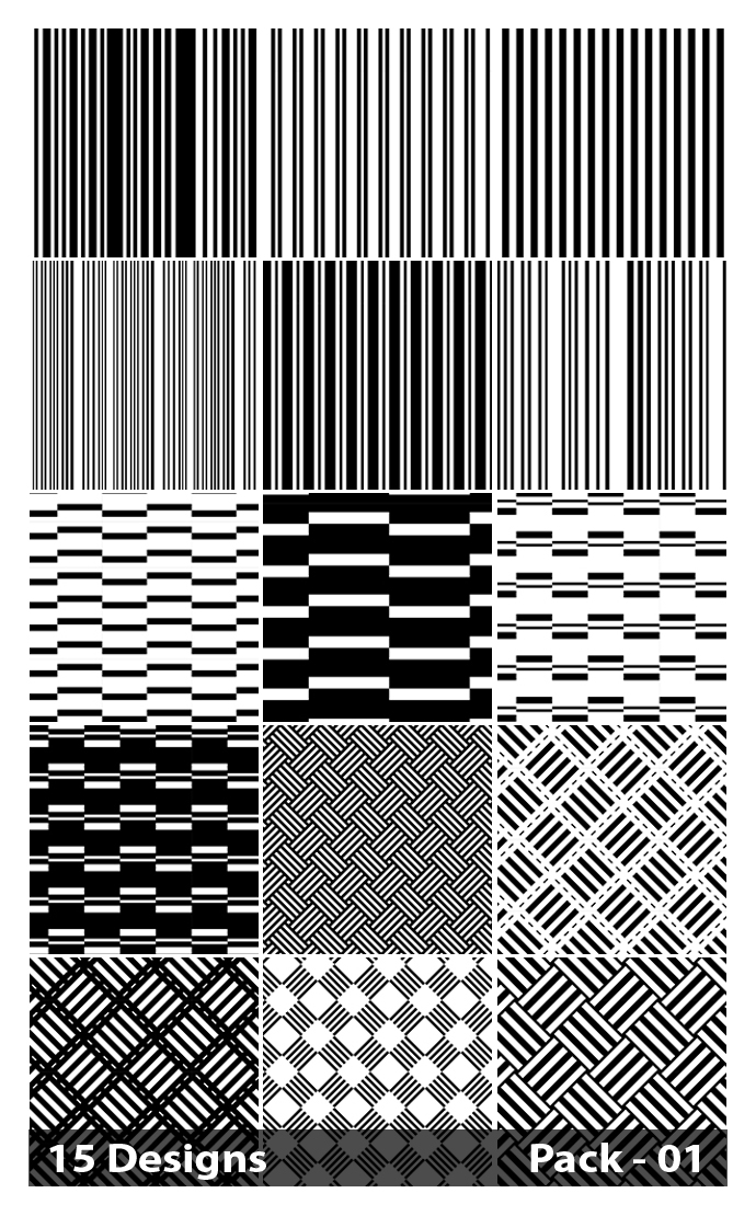 15 Black and White Seamless Stripes Pattern Vector Pack 01