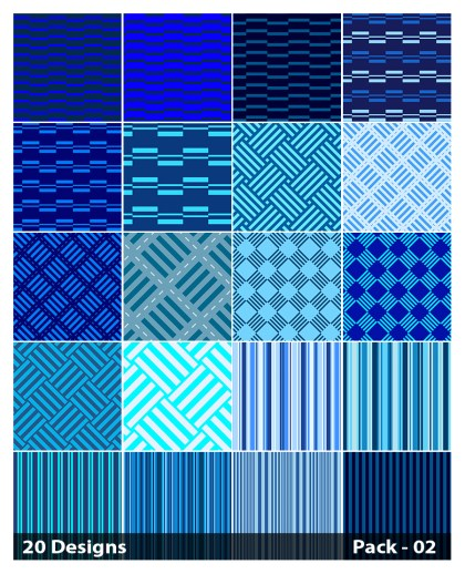 20 Blue Stripes Pattern Vector Pack 02