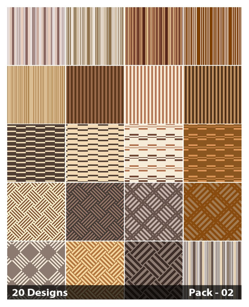 20 Brown Stripes Pattern Vector Pack 02