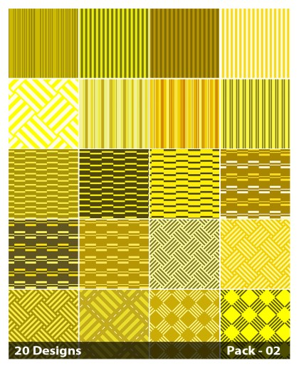 20 Yellow Stripes Pattern Vector Pack 02
