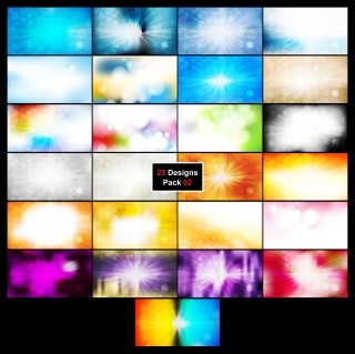 25 Bokeh Lights Background with Sun Rays 02