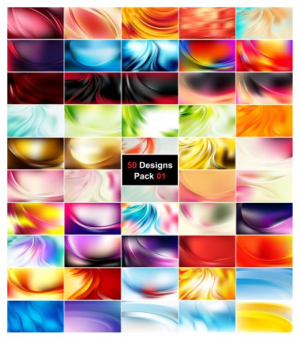 50 Wave Background Vector Pack 01