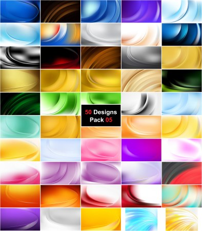 50 Abstract Wavy Background Vector Pack 05