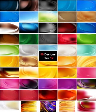 50 Abstract Curve Background Vector Pack 12