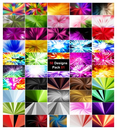 50 Burst Background Vector Pack 01