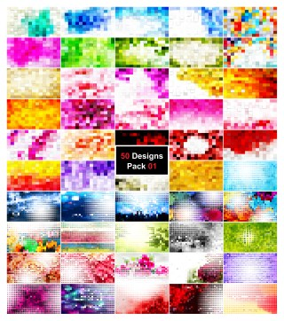 50 Square Mosaic Background Vector Pack 01