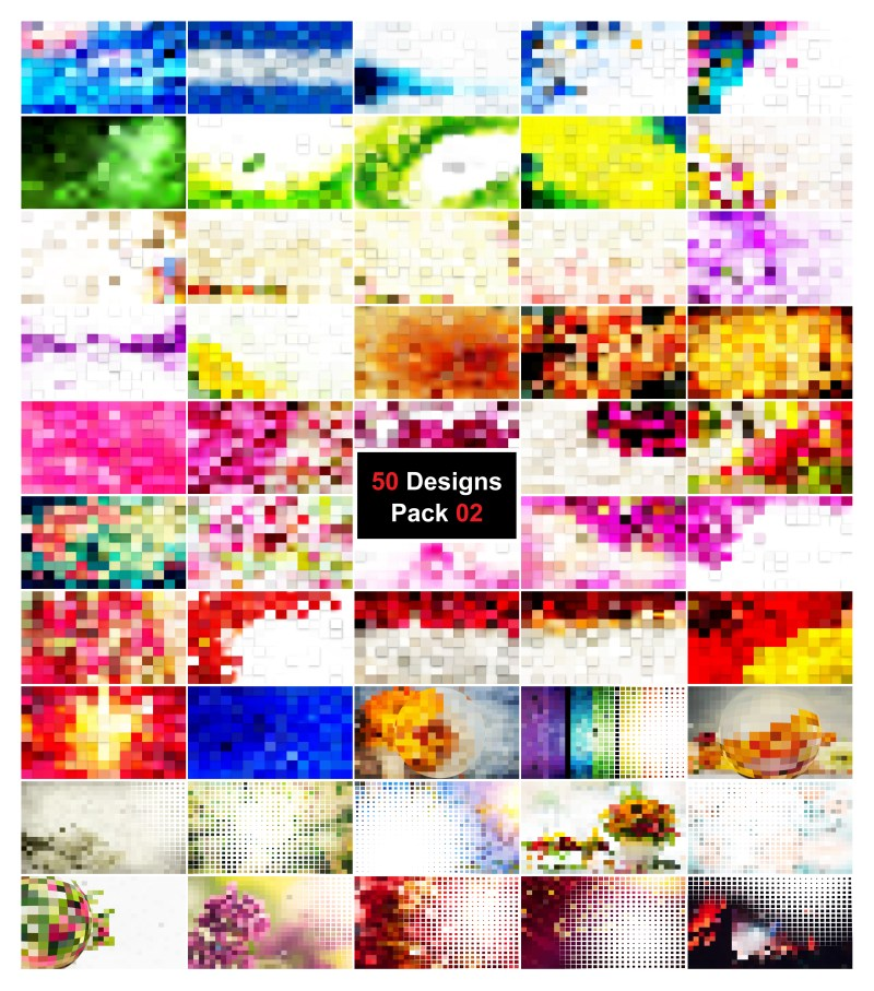 50 Square Mosaic Background Vector Pack 02