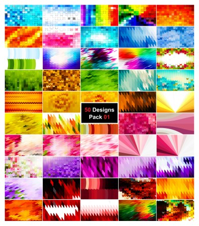 50 Geometric Shapes Background Vector Pack 01