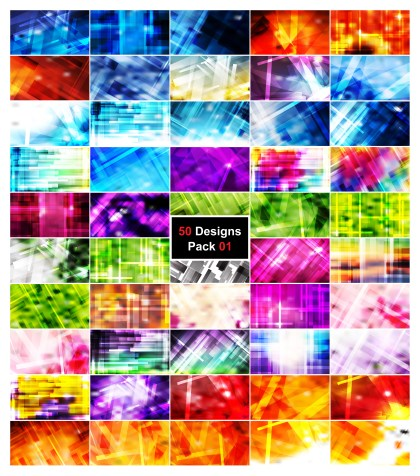 50 Modern Geometric Background Vector Pack 01