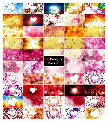50 Heart Background Vector Pack 01