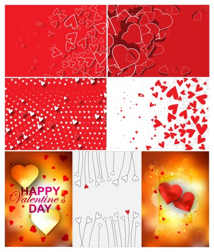 7 Love Backgrounds Vector Pack