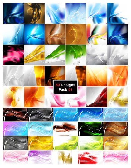 50 Flowing Curves Background Vector Pack 01