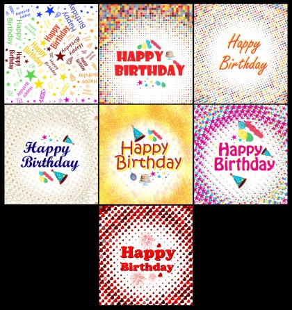 7 Birthday Backgrounds Vector Pack
