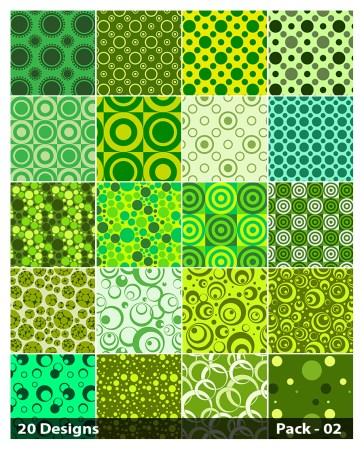 20 Green Seamless Circle Pattern Vector Pack 02