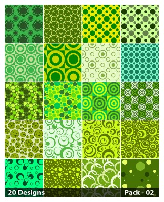20 Green Seamless Circle Pattern Vector Pack 02