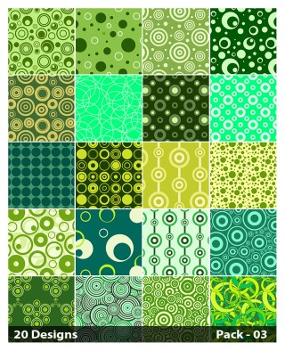 20 Green Circle Pattern Background Vector Pack 03