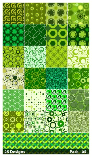 25 Green Seamless Circle Pattern Background Vector Pack 05
