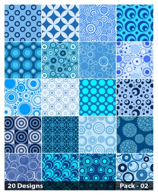 20 Blue Seamless Circle Pattern Vector Pack 02