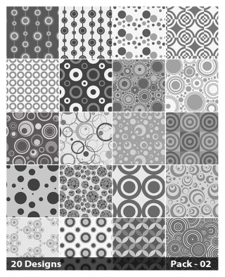 20 Grey Seamless Circle Pattern Vector Pack 02