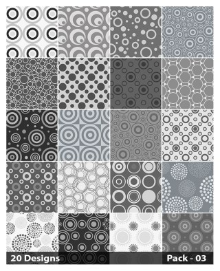 20 Grey Circle Pattern Background Vector Pack 03