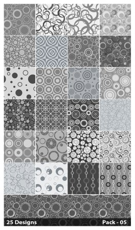 25 Grey Seamless Circle Pattern Background Vector Pack 05