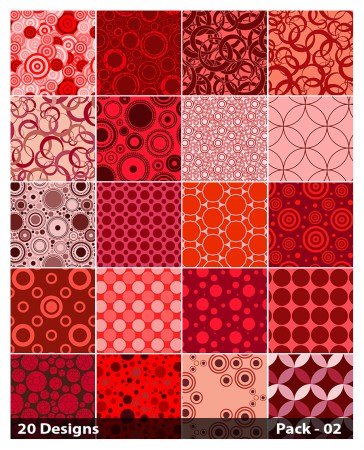 20 Red Seamless Circle Pattern Vector Pack 02