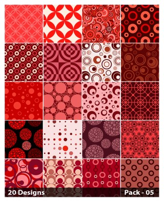 20 Red Seamless Circle Pattern Background Vector Pack 05