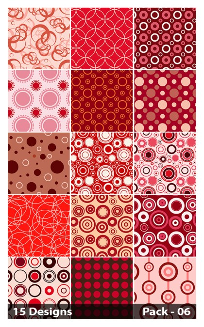 15 Red Seamless Circle Background Pattern Vector Pack 06