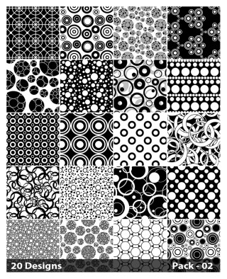 20 Black and White Seamless Circle Pattern Vector Pack 02