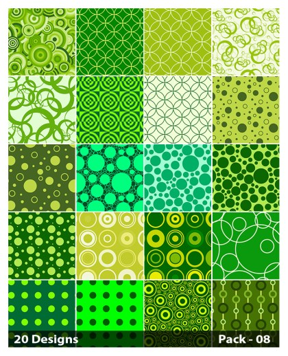 20 Green Circle Pattern Background Vector Pack 08