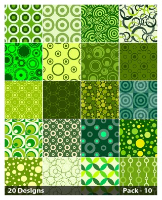 20 Green Seamless Circle Pattern Background Vector Pack 10