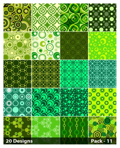 20 Green Seamless Circle Background Pattern Vector Pack 11
